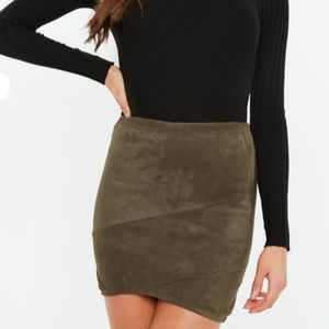 Faux Suede Wrap mini skirt